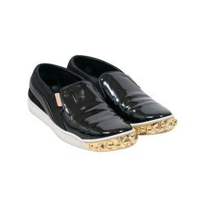 Black Patent Gold Studded Tempo Slip On Sneakers